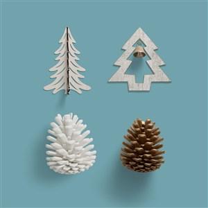 圣诞节主题设计素材圣诞树松果素材