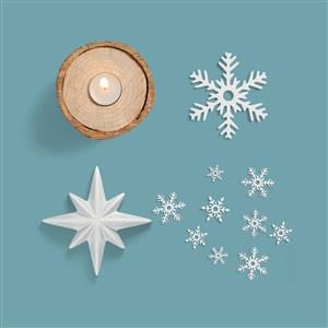 雪花烛台样机素材圣诞节主题样机素材