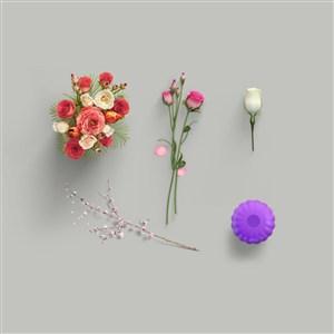 鲜花花瓶花束样机素材