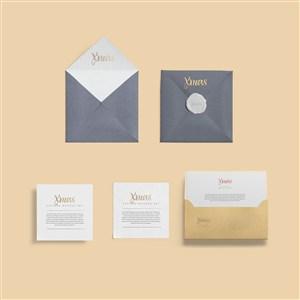 卡片信封信纸邀请函办公用品样机素材