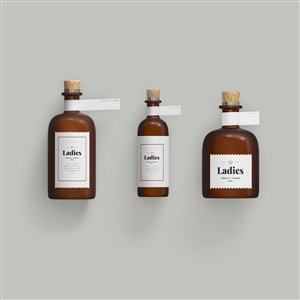 木塞避光精油分装瓶样机素材