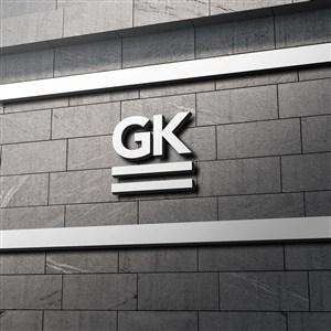 企业公司门头立体logo标志样机模板