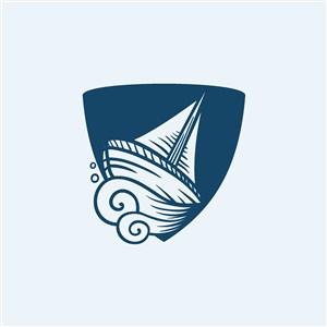 海上游轮旅游矢量logo设计素材