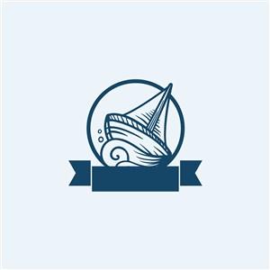 船图标轮船旅游矢量logo素材