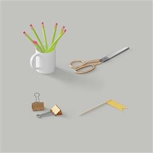 夹子铅笔剪刀办公用品样机素材
