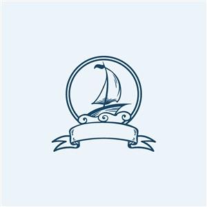 出海旅游轮船旅游矢量logo图标