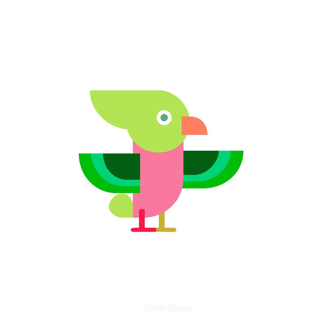 彩色小鸟图标服装公司矢量logo素材
