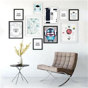室内背景墙装饰画画框贴图样机