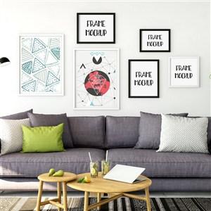 客厅沙发背景墙装饰画画框样机
