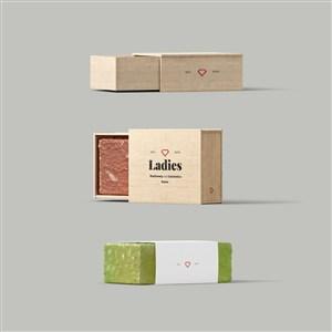 手工皂木盒包装样机素材
