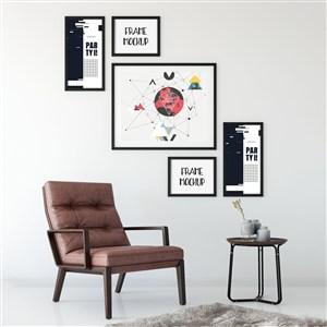 现代简约抽象装饰画工作室壁画画框贴图样机