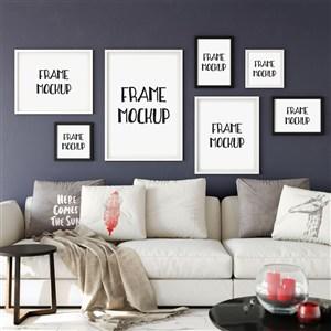 客厅装饰画沙发背景墙装饰画画框样机
