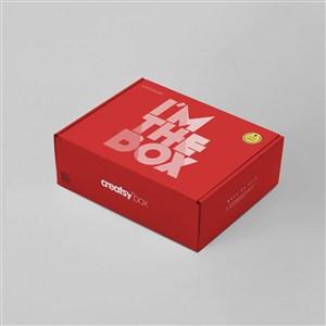红色纸盒创意礼品包装样机