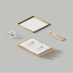 名片相框笔记本样机素材