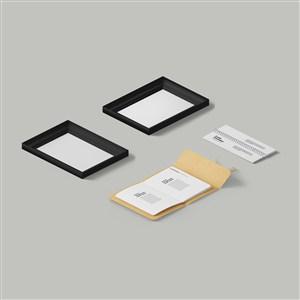 相框笔记本办公用品样机素材