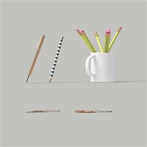 铅笔杯子钥匙扣样机素材