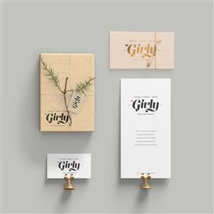 卡片名片礼品包装盒样机素材