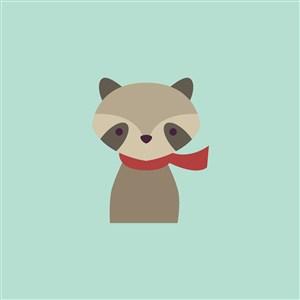帶圍巾的浣熊圖標服裝公司logo素材