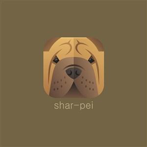沙皮犬圖標寵物店logo素材