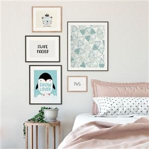 卧室背景墙装饰画画框样机