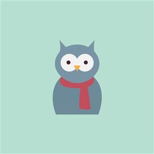 帶圍巾的鳥圖標服裝公司logo素材