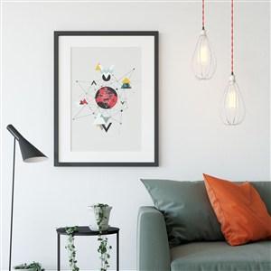 黑色边框沙发背景墙装饰画画框样机