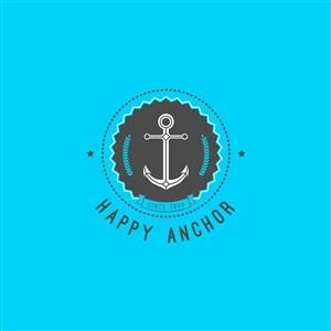 船錨圖標海上旅游矢量logo設計素材