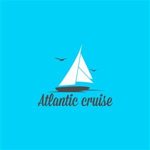 游轮图标海上旅游环球航行矢量logo设计素材
