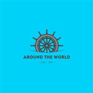 環球旅游矢量logo設計素材船舵圖標
