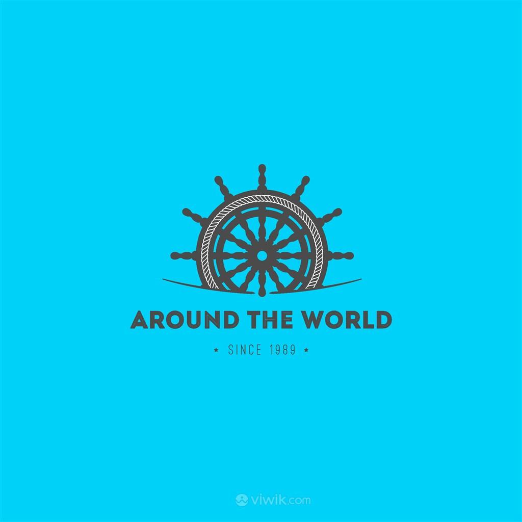 环球旅游矢量logo设计素材船舵图标