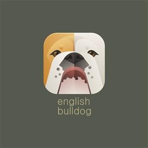 英国斗牛犬图标宠物店矢量logo素材