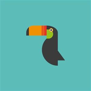 大嘴鳥圖標服裝公司矢量logo素材