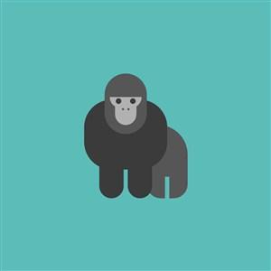 黑猩猩圖標旅游景點矢量logo素材