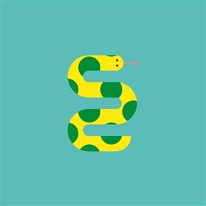 黄绿色蛇矢量logo图标