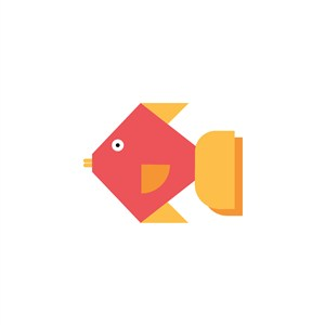 彩色鱼矢量图标餐饮公司logo素材