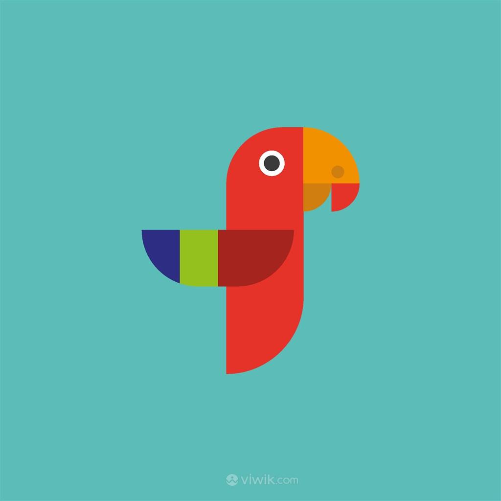 彩色鸚鵡圖標家居地產公司矢量logo素材