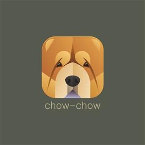 松獅犬矢量圖標寵物店logo素材