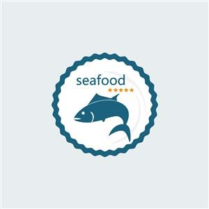 海鮮店餐飲店矢量logo設計素材