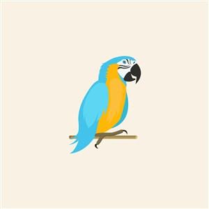 鹦鹉矢量图标宠物店logo设计素材