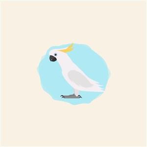 白色鸚鵡圖標寵物店矢量logo素材