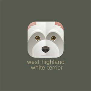 西部高地白梗圖標寵物店矢量logo素材