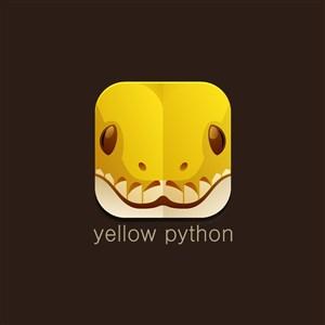 黄色蟒蛇图标动物园logo素材