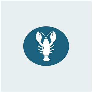 小龙虾图标餐饮公司矢量logo素材