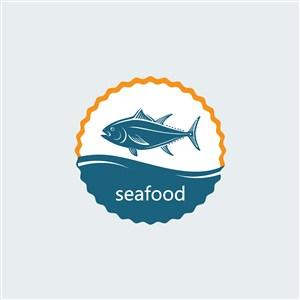鱼图标餐饮公司矢量logo素材