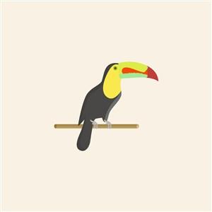 鸚鵡矢量圖標服裝店logo素材