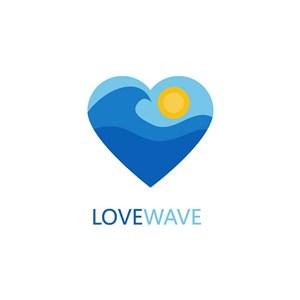 愛心海浪圖標海邊度假矢量logo素材