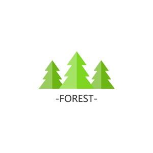 森林矢量圖標環保logo素材