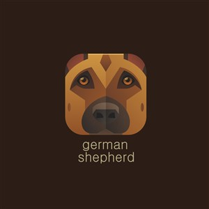 德國牧羊犬矢量圖標運動休閑logo素材