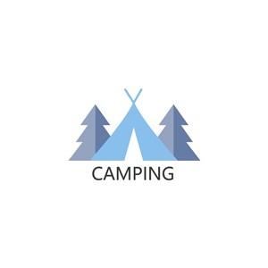 野外露營矢量logo設計素材