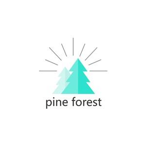 树太阳图标森林保护矢量logo素材